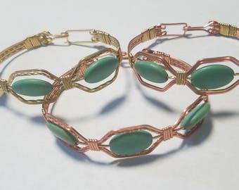 Three Green Bead Bracelet