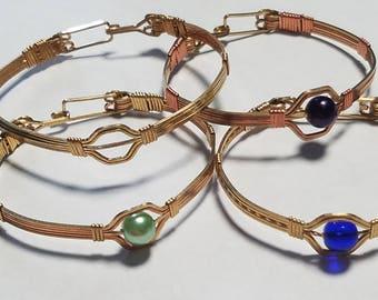 Single Bead Copper Bracelet