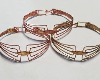 Copper or Brass, Or Multi Metal Aztec Bracelet