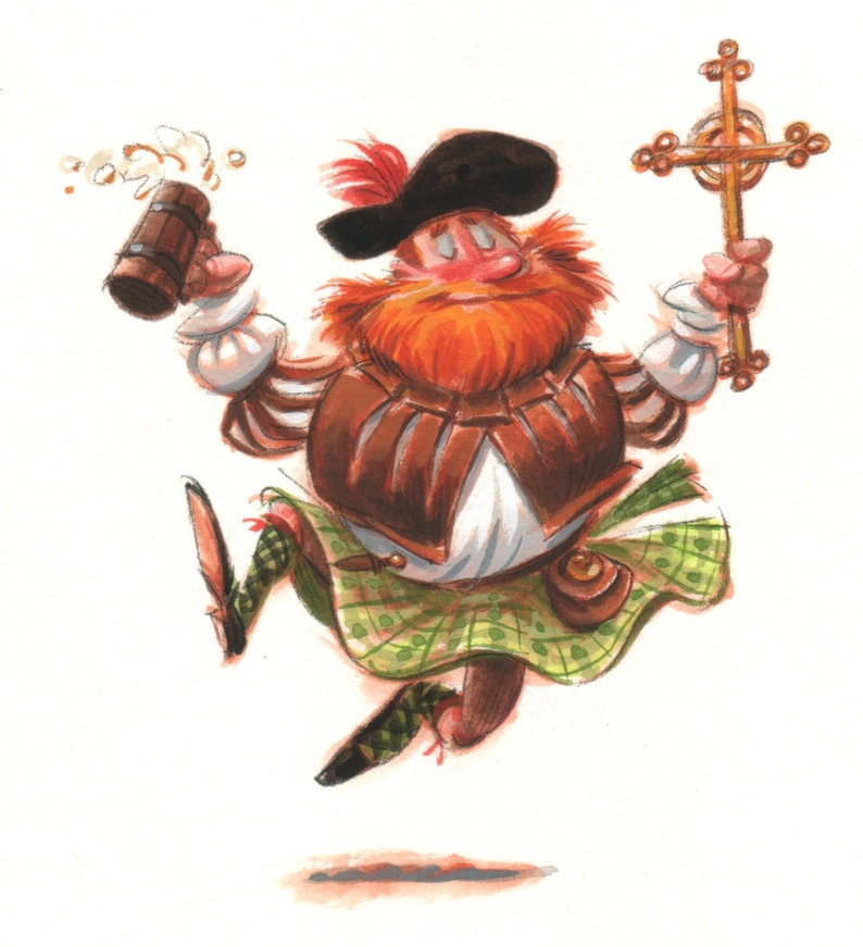 Dancing Scots highlander with ale and crucifix image 0