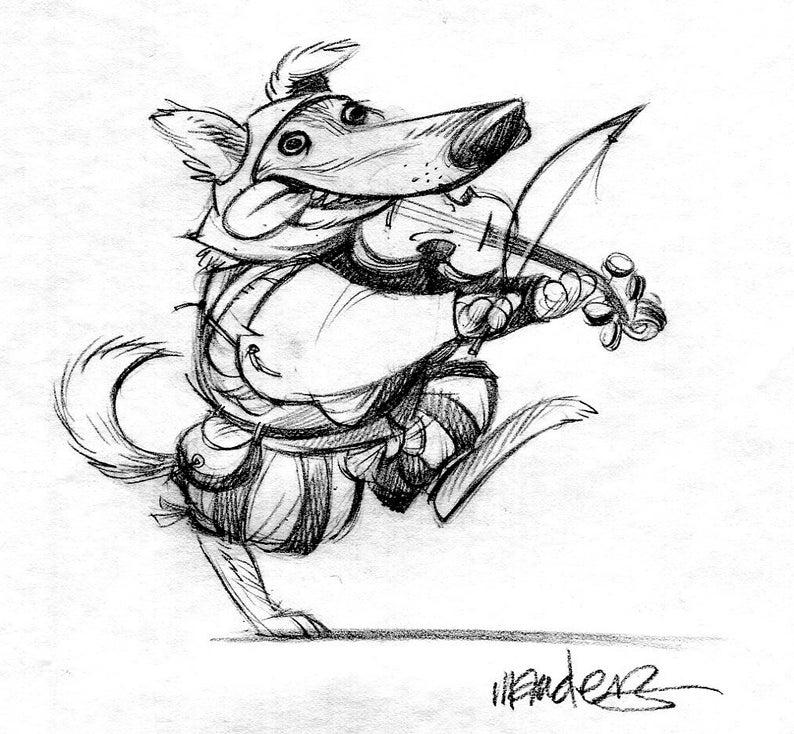 Renaissance Dog with fiddle image 0