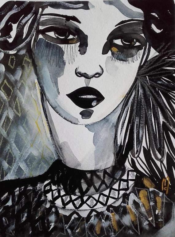 Femme Portrait Visage Peinture Portrait Noir Et Blanc Beauté Etsy