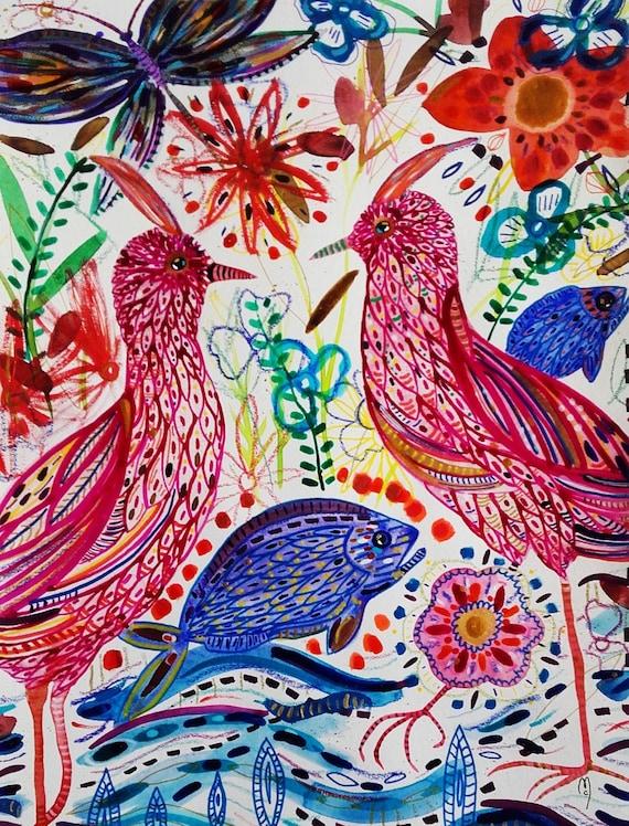 Pittura di uccelli pesci fiori natura pesce arte pittura fiori fenicottero uccelli uccelli uccelli uccello Rose inchiostro decorazione domestica