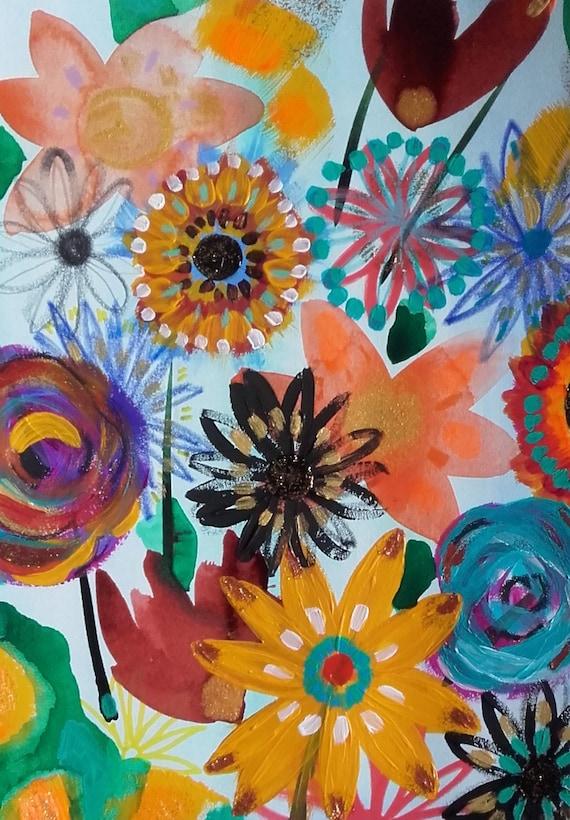 Fleurs Art Fleurs Peinture Fleurs Dessin Fleurs Decoration Etsy