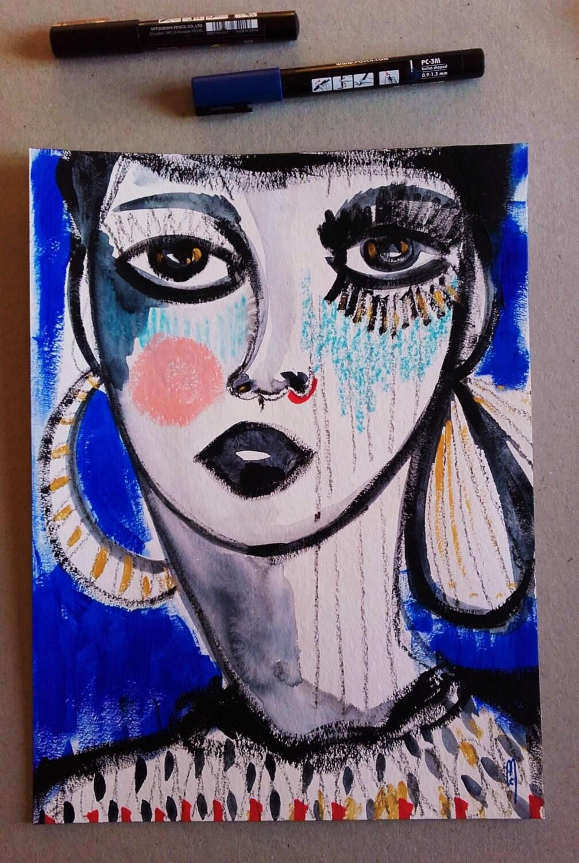 portrait femme visage femme peinture originale art etsy. Black Bedroom Furniture Sets. Home Design Ideas