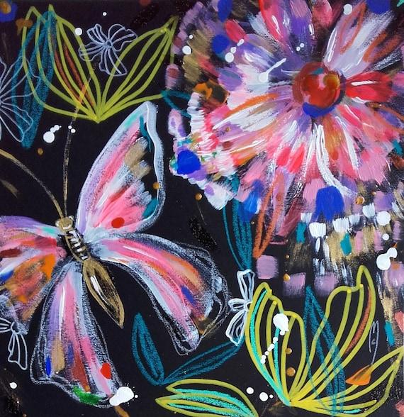 Fleurs Papillon Peinture Nature Decor Art Contemporain Dessin Etsy
