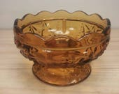 Beautiful Amber Vintage Compote Candy Dish Pedestal Bowl Base to a Candle Holder in Excellent Condition