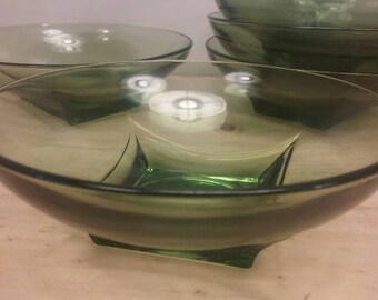 """Rare Hazel Atlas """"Colony Square"""" Collection Mid Century Square-Based Clear Green Soup or Cereal Bowls, Set of Five (5)"""