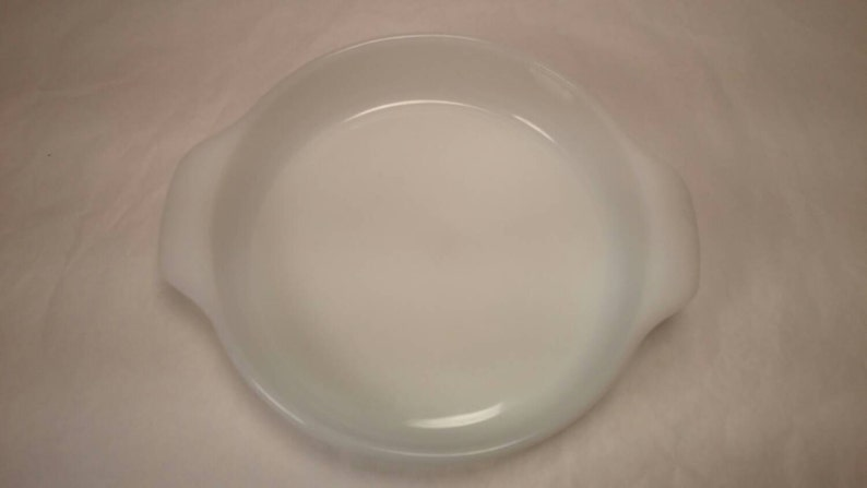 Vintage Milk Glass FIRE KING Round CASSEROLE with Blue Flowers