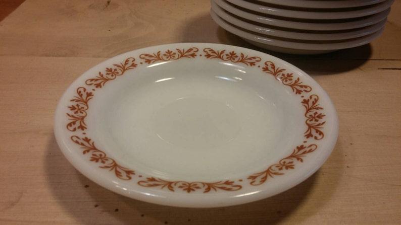 DECOR BRAND SAUCER Milk Glass White with Burnt Orange Floral Border in Excellent Condition!