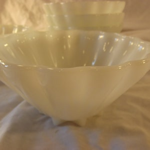 Antique FLEUR-DE-LIS Large Glass Bowl Punch Bowl Gold and White in Awesome Condition!