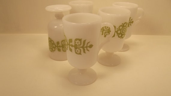 Sale Unique Set Of Eight Milk Glass Pedestal Mugs With Etsy
