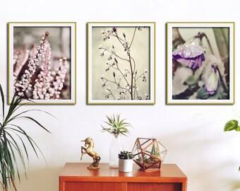 Set of 3 Botanical Prints, Flower Wall Art, Nature Art, Botanical Print Set, Flower Wall Decor, Flower Art, Botanical Wall Art