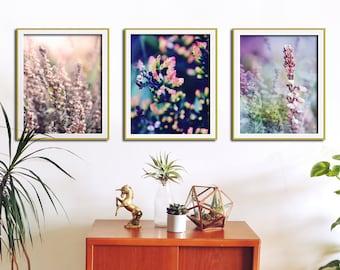 Set of 3 Botanical Prints, Nature Art, Botanical Print Set, Flower Wall Art, Room Decor, Pink Flower Art, Botanical Wall Art