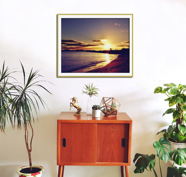 Abstract Purple /& Gold Landscape /'Royal Sunset/' Contemporary Seaside Wall Decor