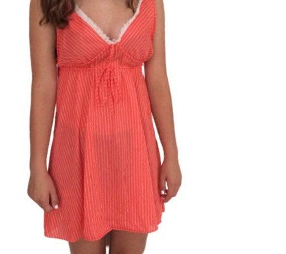 Vintage Slip dress 70s pin-up lingerie cover up n… - image 3