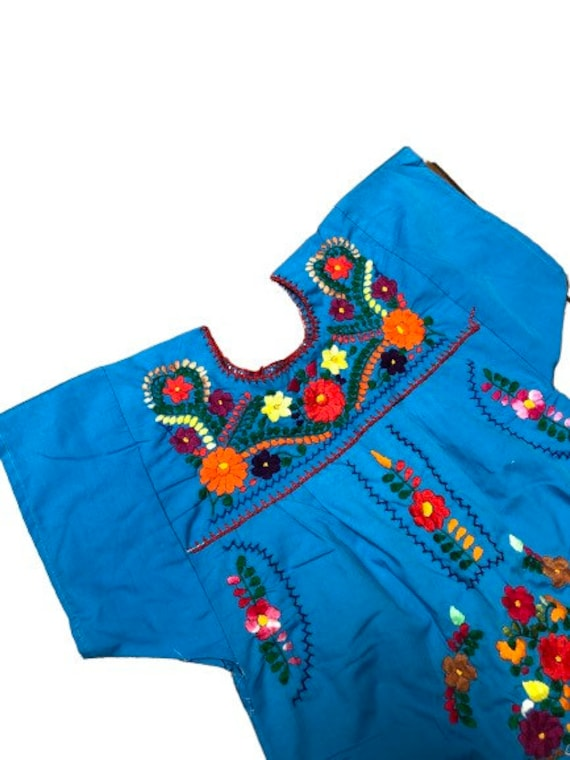 Mexican embroidered dress girls floral embroidere… - image 3