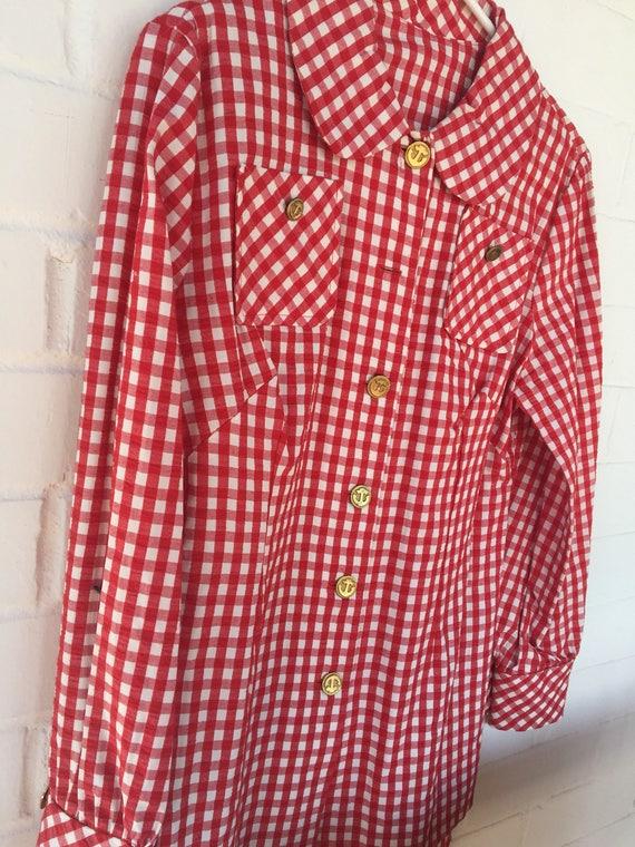 Blouse de Vichy rouge et blanc seersucker veste cocher croisière usure marin veste