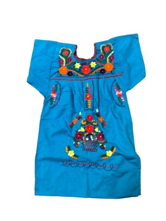 Mexican embroidered dress girls floral embroidere… - image 1