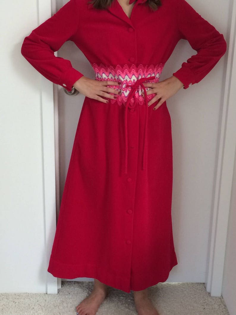 Red dress Velvet Hostess gown velour evening wear duster Holiday dress  At Home Wear by Van Raalte