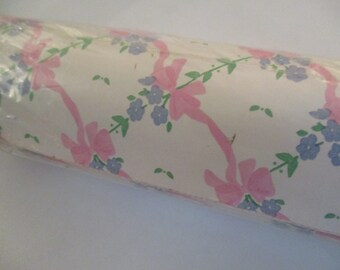 Vintage pink ribbon floral contact paper country cottage drawer liner craft supply pink Bouquets shabby cottage baby's room nursery decor