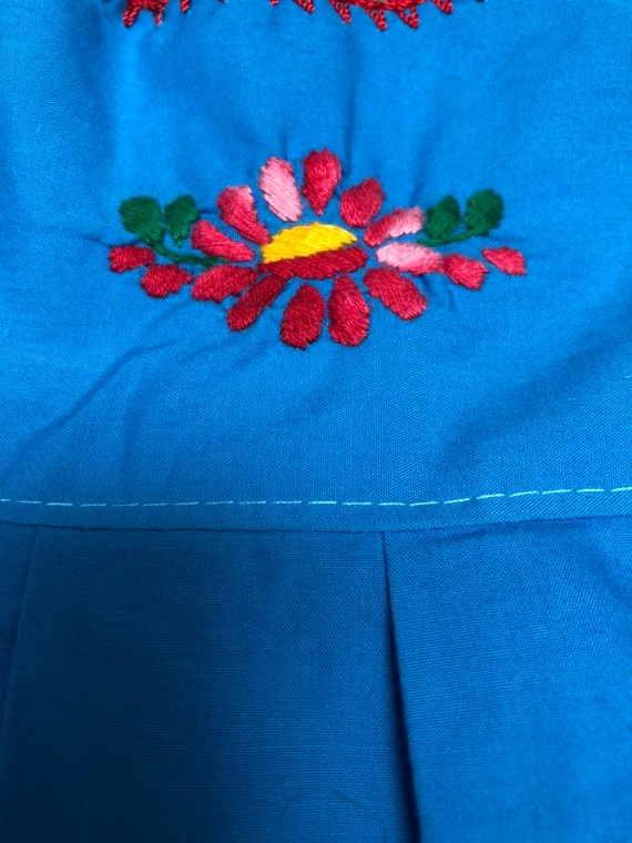 Mexican embroidered dress girls floral embroidere… - image 4