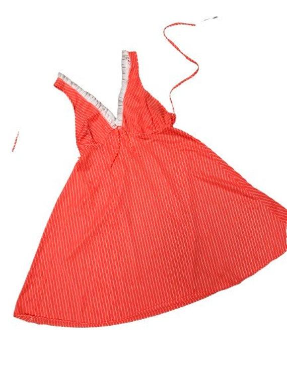 Vintage Slip dress 70s pin-up lingerie cover up n… - image 6