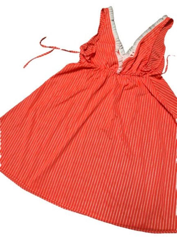 Vintage Slip dress 70s pin-up lingerie cover up n… - image 2