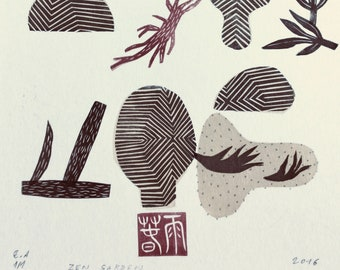 Zen Garden XX., original linocut monotype print by Paulina Varregn, tribal geometric art