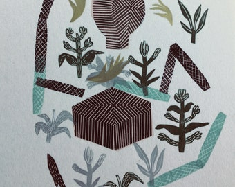 Zen Garden XXI. Original linocut monotype print by Paulina Varregn, tribal art home decor