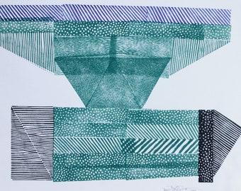 Totem II. original linocut print by Paulina Varregn, home wall decor