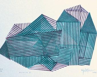 Magical Object nr.30, original linocut monotype by Paulina Varregn, geometric tribal print