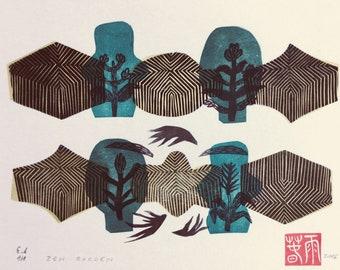 Zen Garden XXII. Original linocut monotype by Paulina Varregn, tribal home decor