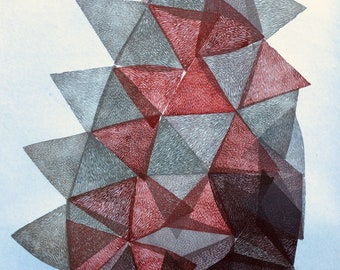 Gemstone VI., original linocut monotype print by Paulina Varregn, abstract geometric home decor
