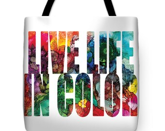 Tote Life Is Art Be The Artist Landscape Abstract Word Art Purse Bag Gift Idea