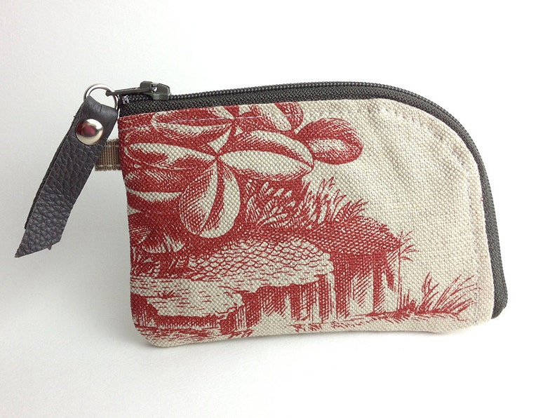 Red Toile Linen Small Zipper Credit Card Money Wallet Pouch Unique Hand made Highly Crafted