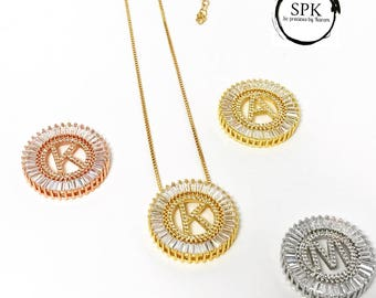 Large initial pave necklace