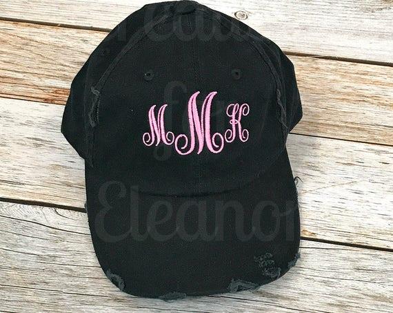 Monogrammed Distressed Baseball Hat, Monogrammed Baseball Hat, Women's Baseball Hat, Monogrammed Hat