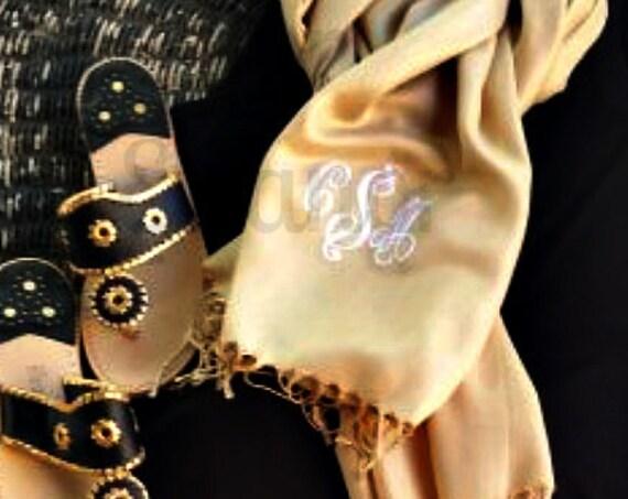 Monogram Scarf, Monogrammed Pashmina, Monogrammed Shawl, Monogrammed Wrap, Bridal Party Gift, Wedding Party Gift, Bridesmaids Gift