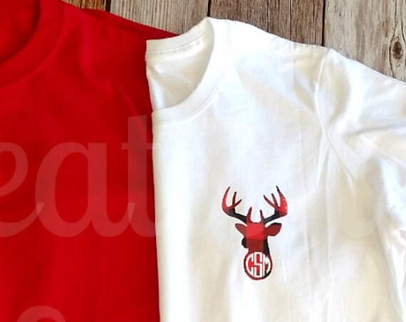 Women's Monogrammed T-Shirt, Long Sleeve T-shirt, Christmas Monogram, Tartan Monogram, Plaid Monogram, Tartan, Black Watch, Plaid Monogram