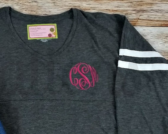 Monogrammed V-neck, V-neck T-shirt, Monogrammed T-shirt, Monogram t-shirt, monogrammed shirt, monogram shirt, long sleeve t-shirt, tee shirt