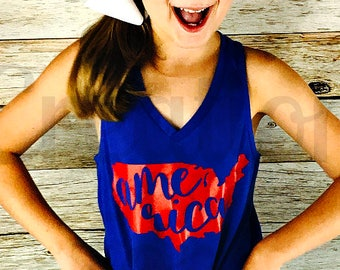 Girls America Tank Top, Patriotic Tank Top, Fourth of July Shirt, 4th of July Shirt, Patriotic Monogram, Fourth of July Monogram, Merica