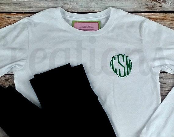 Women's Monogrammed T-Shirt, Long Sleeve Tshirt, Womens Tshirt, Monogrammed Tshirt, Long Sleeve Tshirt, Monogram Shirt, Monogrammed, Women