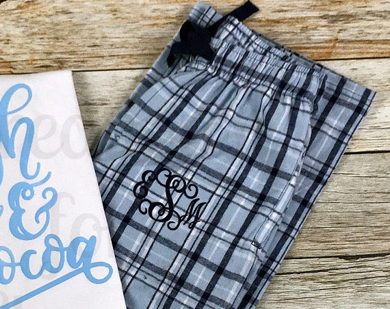 Monogrammed Pajama Pants, Monogrammed Loungewear, Flannel Plaid Lounge Pants, Monogrammed Plaid Pajama Pants