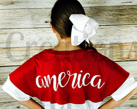 Girls America T-Shirt, Patriotic T-Shirt, Fourth of July Shirt, 4th of July Shirt, Patriotic Monogram, Fourth of July Monogram, Memorial Day