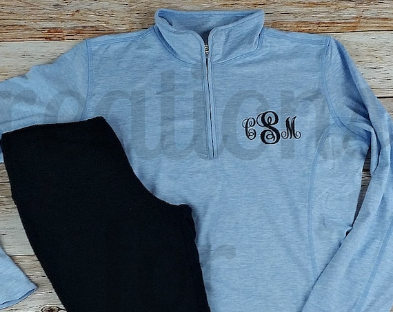 Womens Monogrammed Pullover, Monogrammed Exercise Jacket, Monogram Performance Pullover, Monogram Coat, Monogrammed Pullover, Wicking