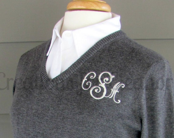 Monogrammed Sweater, Monogram Sweater, Womens Monogrammed Sweater, Womens Monogram Sweater, V-neck Sweater, Monogram Pullover, Gifts for her