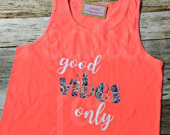 Good Vibes Tank Top, Graphic Tank Top, Graphic Tee, Tank, Beach Cover Up, Bridesmaids, Gifts for Her, Monogram Shirt, Custom Tank Top