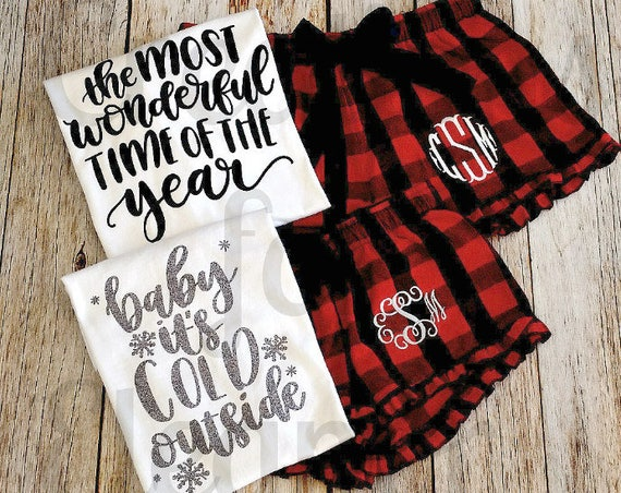 Christmas Pajamas, Monogrammed Flannel Boxers, Monogrammed Shorts, Ruffle Boxers, Buffalo Check, Christmas, Monogrammed Christmas PJs,