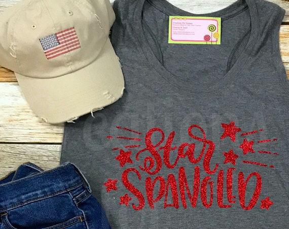 Ladies America Tank Top, Patriotic Tank Top, Fourth of July Shirt, 4th of July Shirt, Patriotic Monogram, Fourth of July Monogram